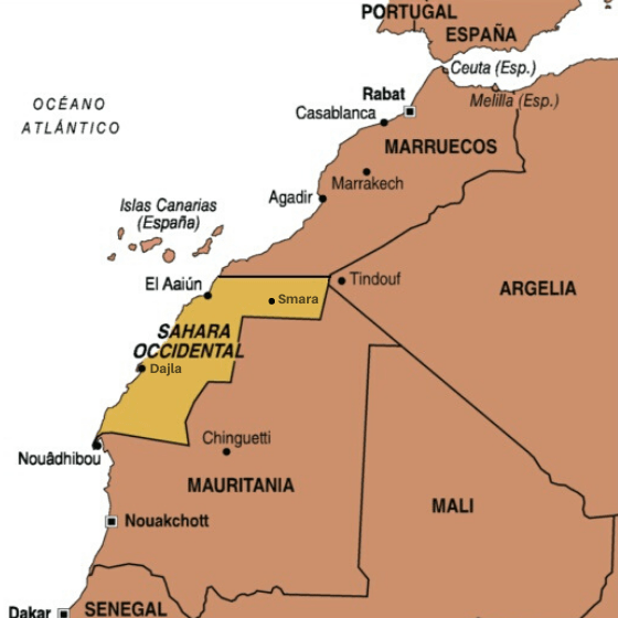 Mapa político del Sahara Occidental