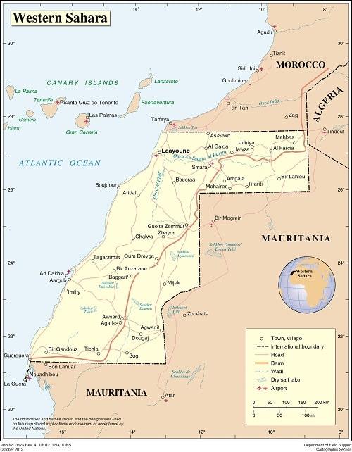 Mapa del Sahara Occidental de la ONU
