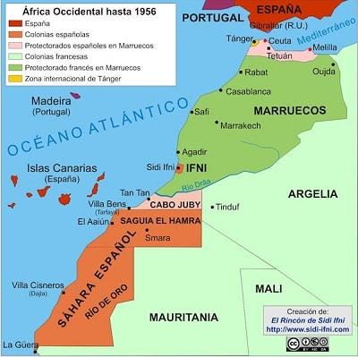 mapa de colonias y protectorados españoles