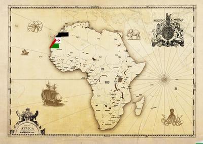 mapa de Africa donde se ve el Sahara Occidental